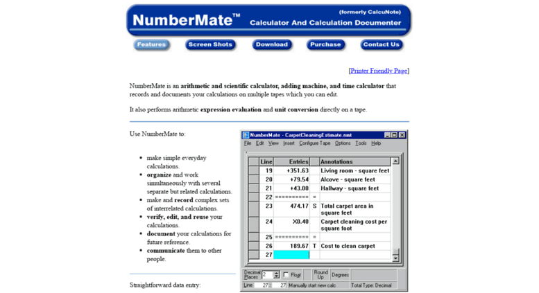 Access calcunote com  NumberMate - Calculator documents calculations