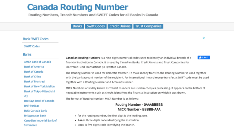 Td Routing Number Canada 004