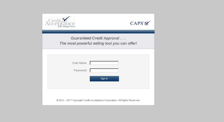 Access caps.creditacceptance.com. CAPS (Login) 2e3670c5108