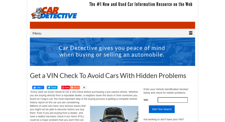 Access cardetective com  Get Your VIN Check For Free and
