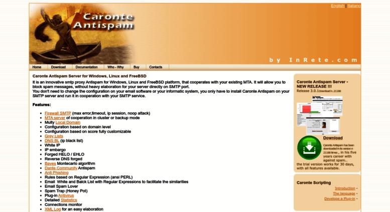 Access caronteantispam com  Caronte Antispam Server - SMTP proxy for