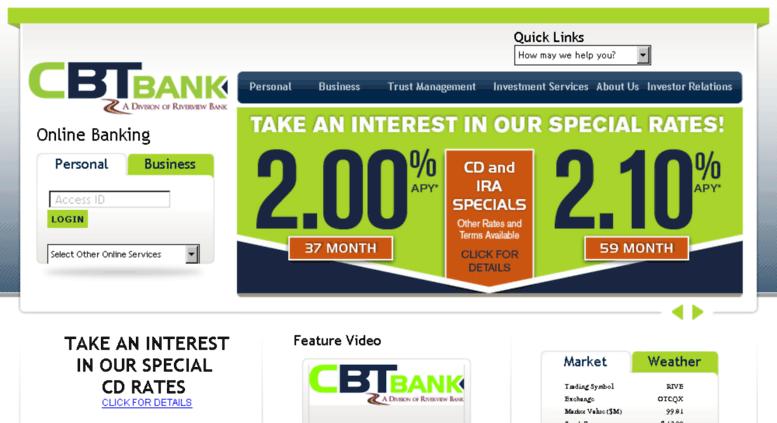 Access cbtfinancial com  CBT Bank - Welcome!