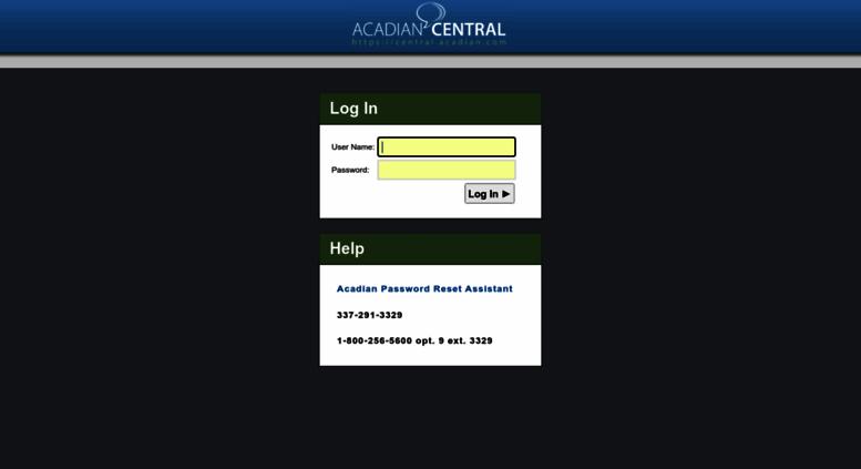 acadian central log in