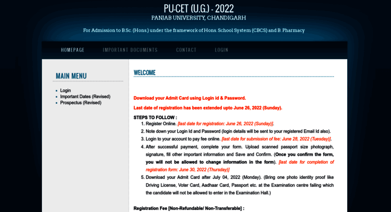 Access cetug puchd ac in  PU-CET (U G ) - 2019 - Panjab University