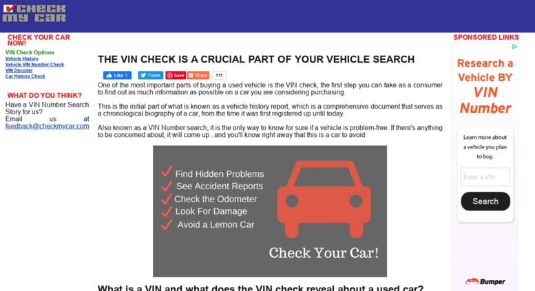 Free Car History Report >> Access Checkmycar Com Vin Check Vin Number Search Free