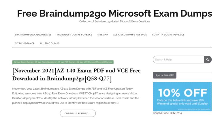 Access checkpointdumps com  Free Braindump2go Microsoft Exam Dumps