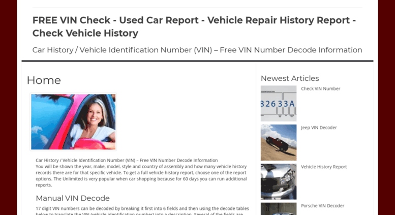 Free Vehicle History Report Online >> Access Checkvinfree Com Used Car Report Vehicle Repair History