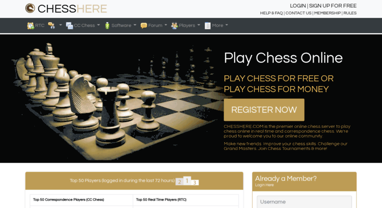 Access chesshere com  Play Chess Online in Realtime  Meet