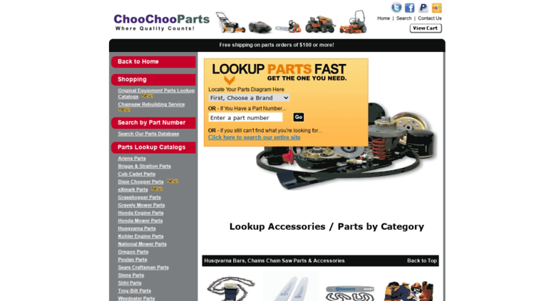 Access choochooparts com  Parts lookup for lawnmowers chainsaws