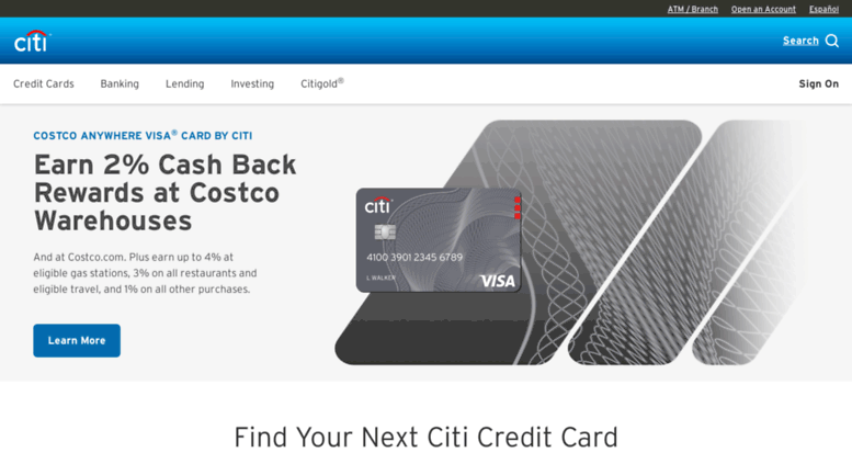 citicards business credit card login