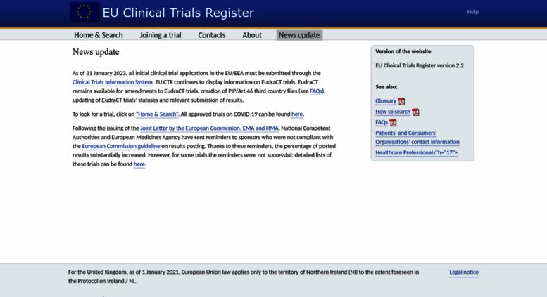 Access clinicaltrialsregister eu  EU Clinical Trials Register - Update