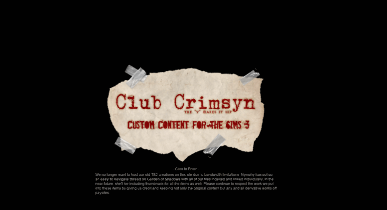 Access clubcrimsyn com  Club Crimsyn   Sims 2 & 3 Clothes