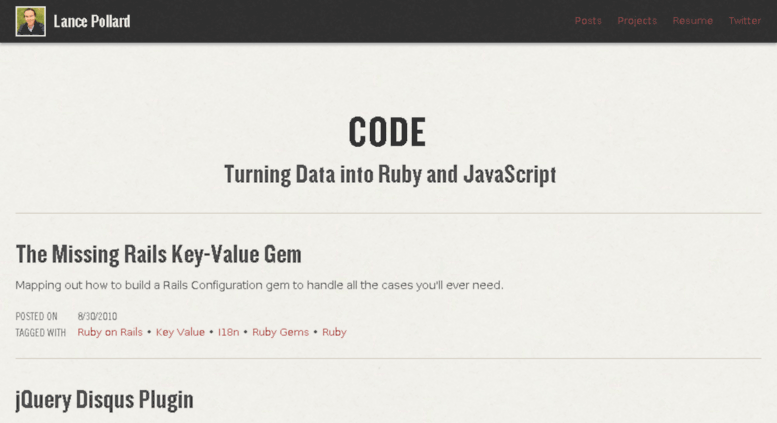 Access code lancepollard com  Turning Data into Ruby and