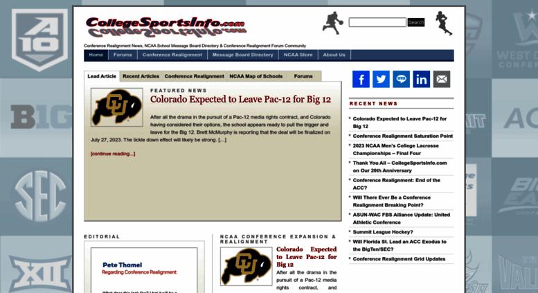 Access collegesportsinfo com  CollegeSportsInfo com