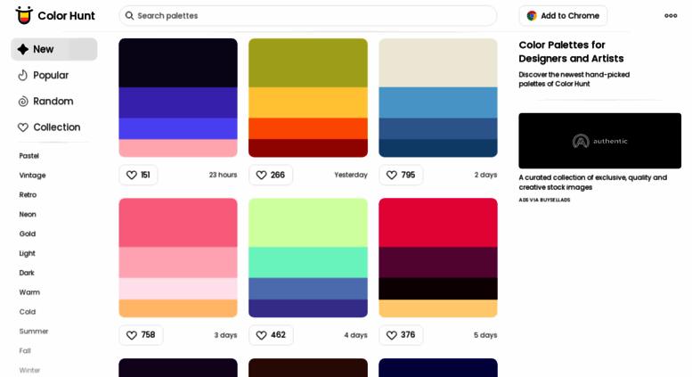 Access colorhunt co  Color Hunt - Color Palettes for