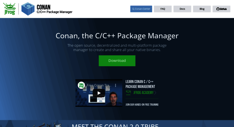 Access conan io  C/C++ Open Source Package Manager