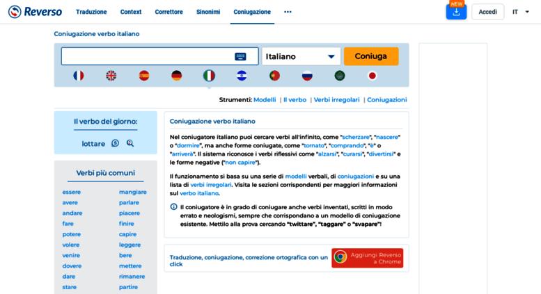 Access coniugazione reverso net  Coniugazione verbo italiano