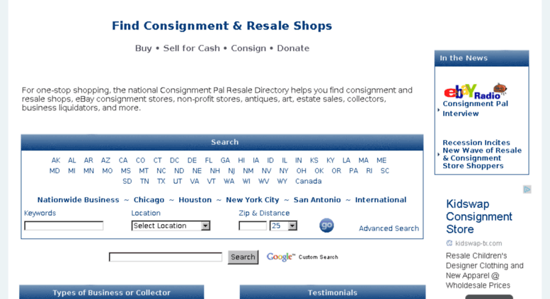 Access Consignmentpal Com Consignment And Resale Directory Of Stores Ebay Sellers Buy Sell Consign