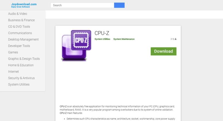Access cpuz joydownload com  CPU-Z - Download CPU-Z 1 8 in