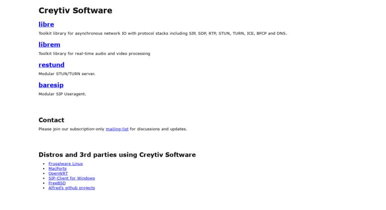 Access creytiv com  Creytiv Open Source SIP Software