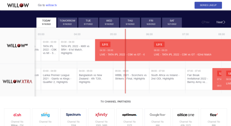 Access cricket willow tv  Willow TV Channel Schedule