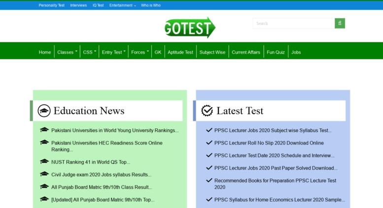Access css gotest pk  Pakistan Online Test class 5th,8th,9th,10th
