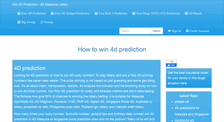 Access cupin net  4D prediction - How to win 4D number big
