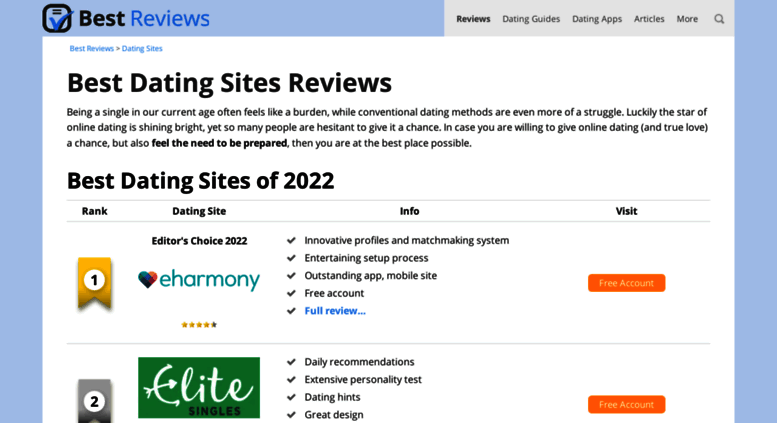 Dating sites with best reviews