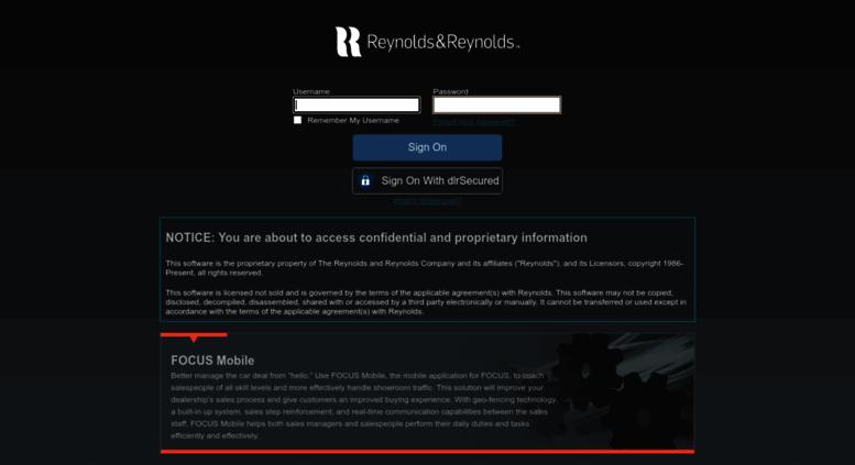 Access dealer reyrey net  Login - Reynolds and Reynolds