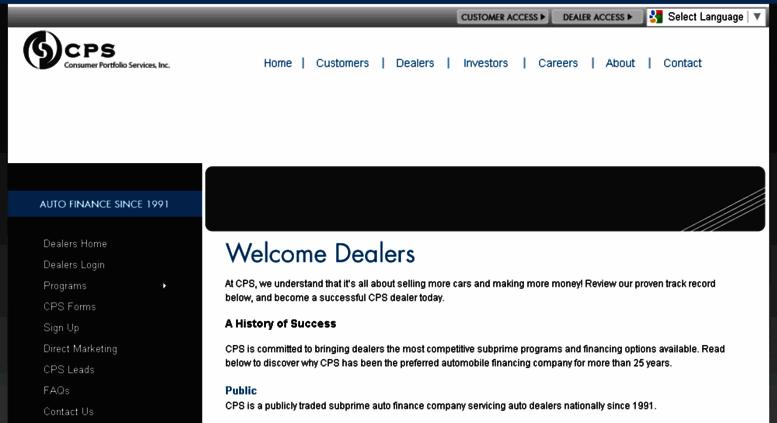 Cps Auto Finance >> Access Dealers Consumerportfolio Com Cps Dealers Log In