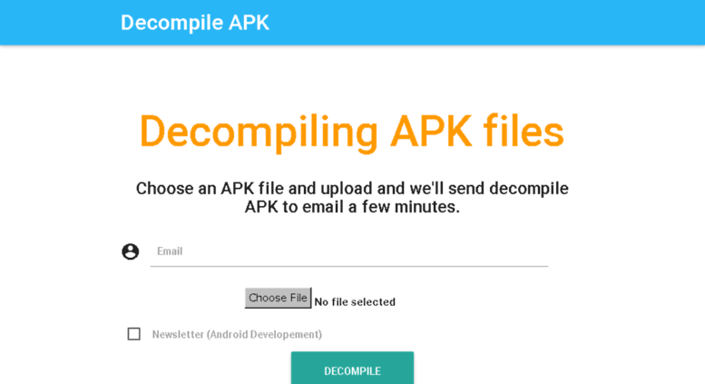 Access decompileapk com  Android APK Decompiler