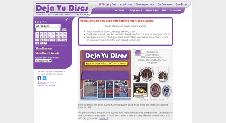Access dejavudiscs com  Deja Vu Discs - Your Source for Used