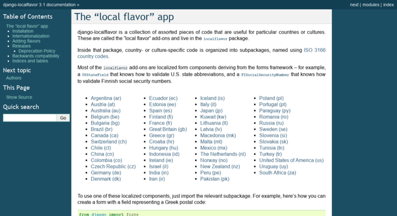 "Access django-localflavor readthedocs org  The ""local flavor"
