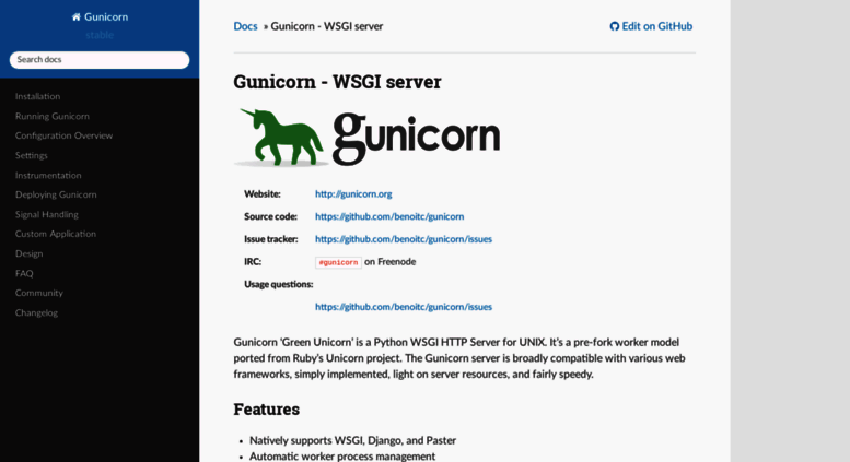 Access docs gunicorn org  Gunicorn - WSGI server — Gunicorn