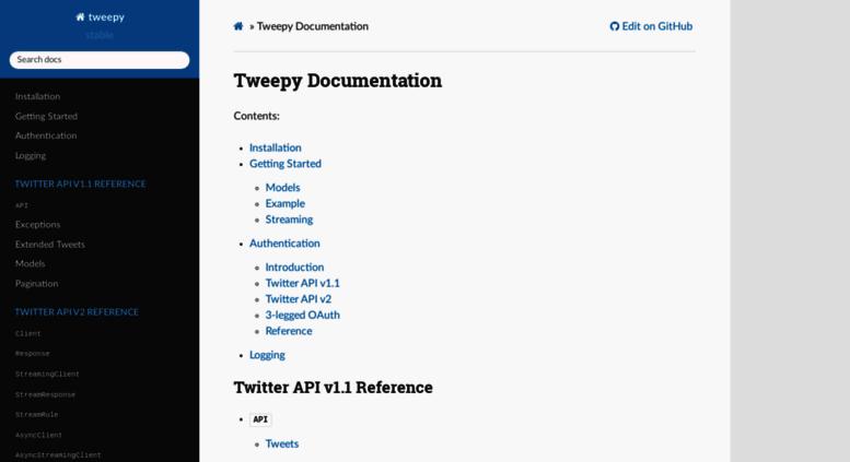 Access docs tweepy org  Tweepy Documentation — tweepy 3 7 0