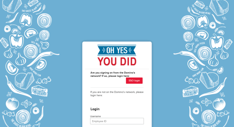 Access dominos achievers com  Oh Yes You Did - Login