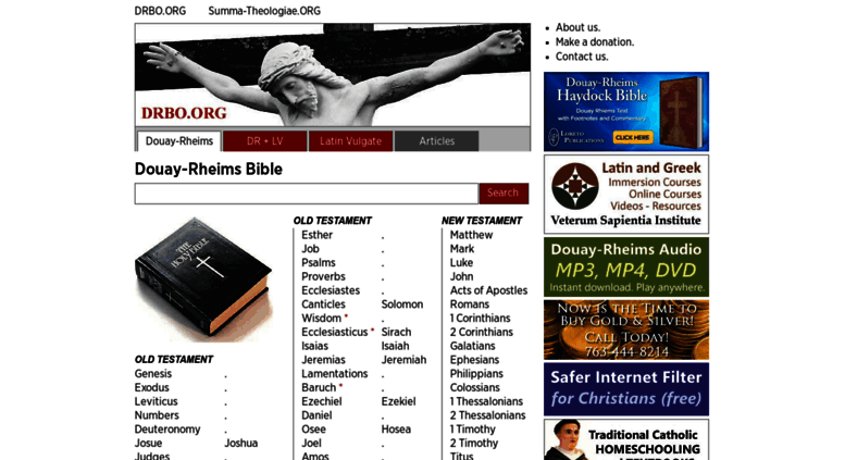 Access drbo org  Douay-Rheims Catholic Bible Online, Search