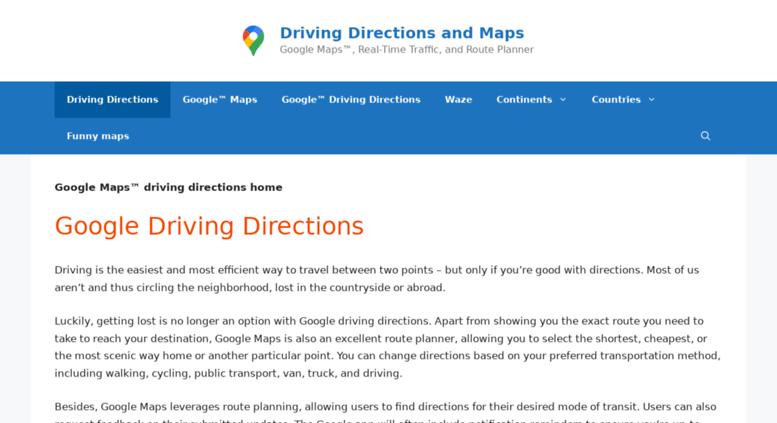 Access drivingdirectionsandmaps.com. Google Maps™ - Driving ... on