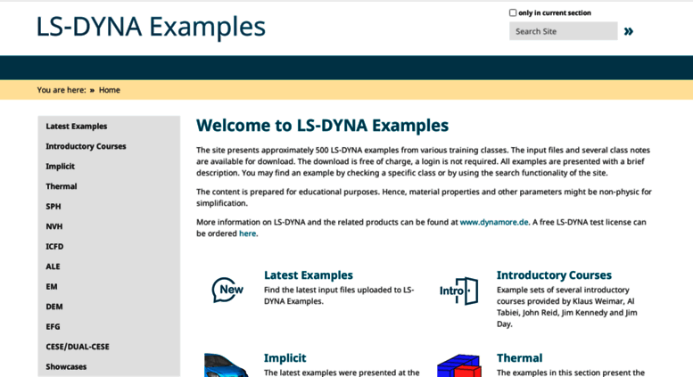 Access dynaexamples com  Welcome to LS-DYNA Examples