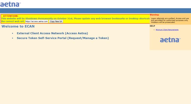 Access ecanx aetna com  ECAN