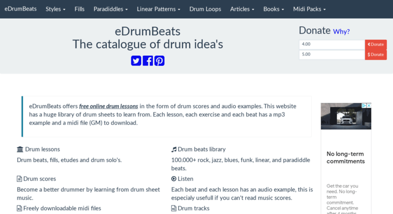 Access edrumbeats com  Drum Lessons, Backing Tracks, Midi Loops