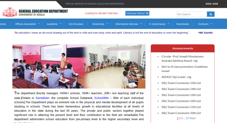 Access education kerala gov in  The official web site of the