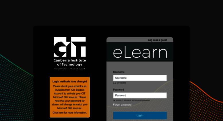 Access elearn.cit.edu.au. eLearn Login