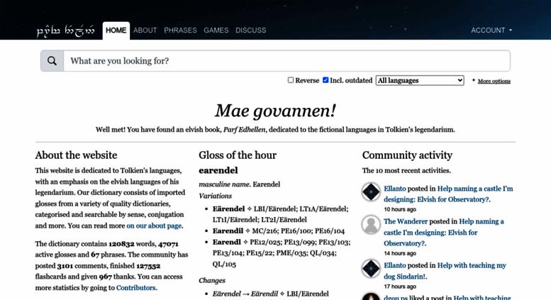 Access elfdict com  Welcome! - Parf Edhellen: an elvish dictionary