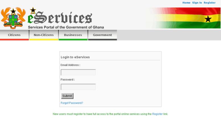 Access elogin eservices gov gh  Login to eServices Portal