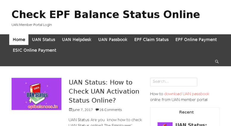 Access epfbalances in  Check EPF Balance Status Online - UAN Member