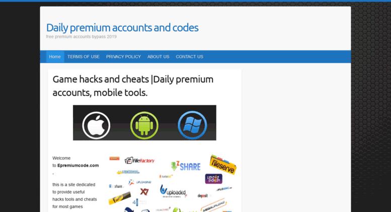 Access epremiumcode com  Game hacks and cheats |Premium accounts