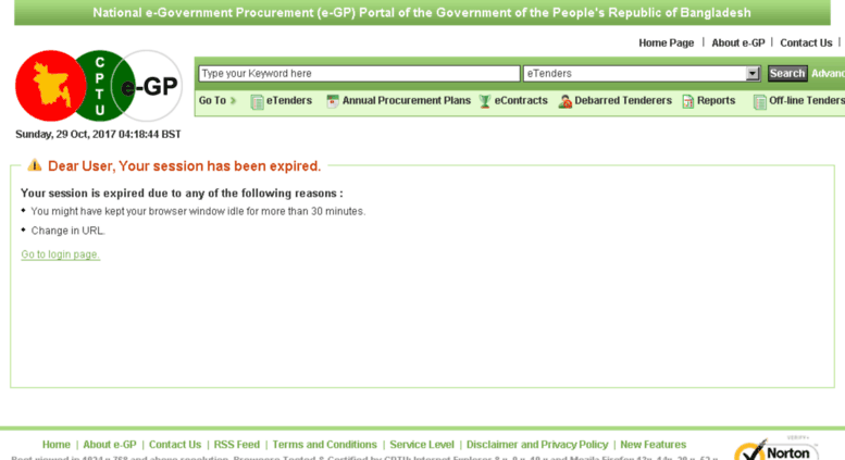 Access eprocure gov bd  Session Expired