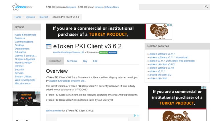 Access etoken-pki-client-v3-6-2 updatestar com  eToken PKI
