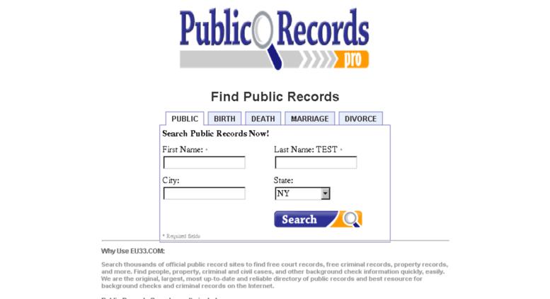 Access eu33 com  Find Public Records - Marriage,Birth